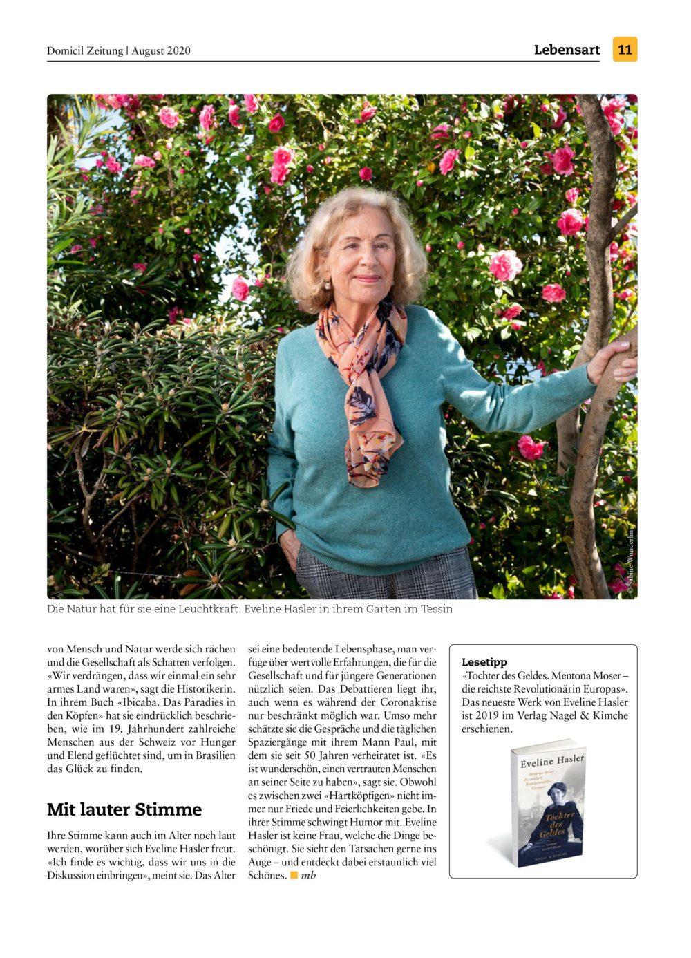 Domicil Zeitung, Eveline Hasler, Bachmann Kommunikation