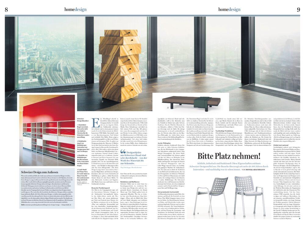 Beilage Home, Tages Anzeiger, Schweizer Design, Bachmann Kommunikation