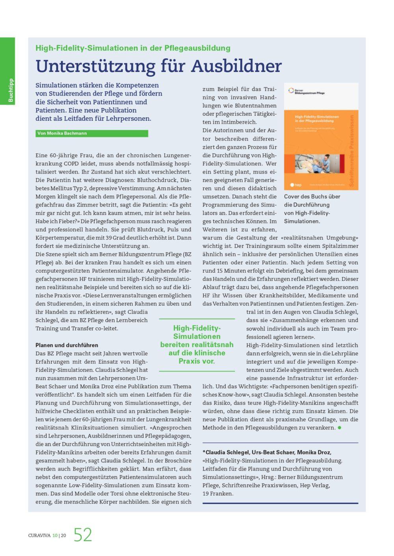 Curaviva, Simulationen BZ Pflege, Bachmann KommunikationHigh Fidelity Sim page 0001